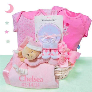 Personalized Bear Nap Time Gift Basket Girl