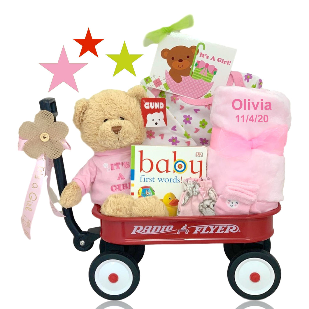 Personalized It's A Girl Radio Flyer Wagon Gift Basket