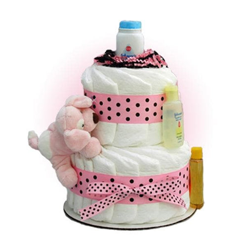 Pink Sparky 2-Tier Diaper Cake