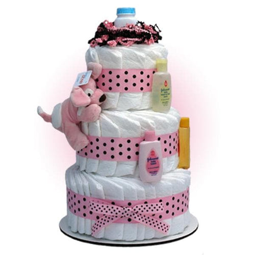 Pink Sparky 3-Tier Diaper Cake