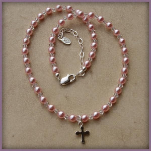 Rosary Beaded Necklace with Pink Pearls and Cross