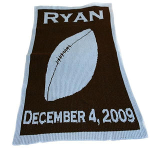 Personalized Acrylic Stroller Blanket with Football (Many Colors Available)