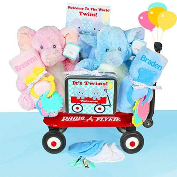 Personalized Twin Welcome Radio Flyer Wagon Gift Basket