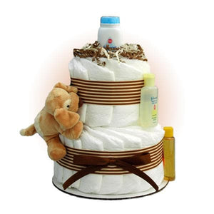 Tan Sparky 2-Tier Diaper Cake
