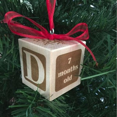 Personalized Baby's First Christmas Ornament Block