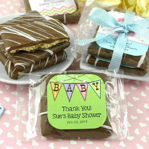 Personalized Baby Chocolate Graham Cracker Favors (Many Designs Available)