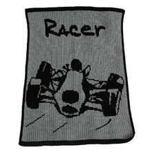 Load image into Gallery viewer, Personalized Acrylic Stroller Blanket with Racecar (Many Colors Available)