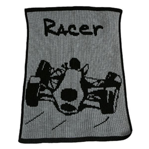 Personalized Acrylic Stroller Blanket with Racecar (Many Colors Available)