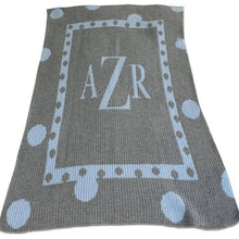 Load image into Gallery viewer, Personalized Double Polka Dot Border Stroller Blanket with Monogram (Many Colors Available)