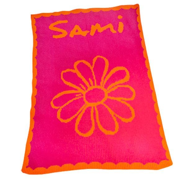 Personalized Acrylic Stroller Blanket with Name, Flower and Scalloped Edge (Many Colors Available)