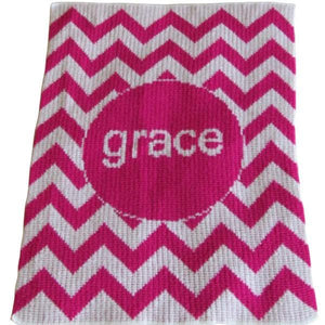 Personalized Acrylic Stroller Blanket with Chevron (Many Colors Available)