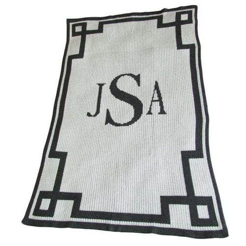 Personalized Acrylic Stroller Blanket with Monogram and Scroll (Many Colors Available)