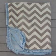 Load image into Gallery viewer, Personalized Blue and Grey Chevron Baby Blanket