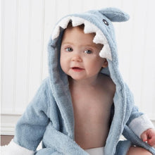 Load image into Gallery viewer, Let the Fin Begin Gift Set with Shark Robe & Layette Blue