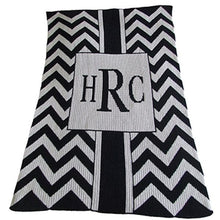 Load image into Gallery viewer, Monogrammed Chevron With Box Stroller Blanket