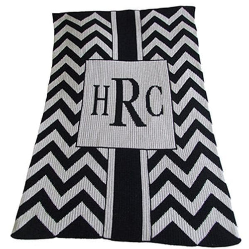 Monogrammed Chevron With Box Stroller Blanket