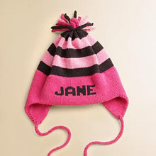 Load image into Gallery viewer, Personalized Stripe Earflap Hats (Many Colors Available)