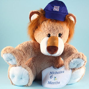 Personalized Giant Plush Lion Baby Gift Set