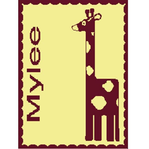 Personalized Stroller Blanket with Giraffe