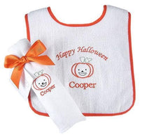 "Load image into Gallery viewer, ""Perky Pumpkin"" Personalized Terry Bib and Burp Cloth Gift Set"