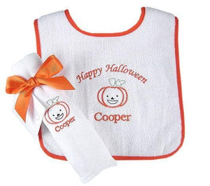 """Perky Pumpkin"" Personalized Terry Bib and Burp Cloth Gift Set"