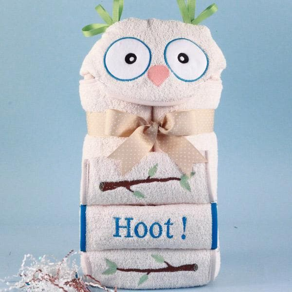 Personalized It's a Hoot Hooded Baby Towel (Blue)