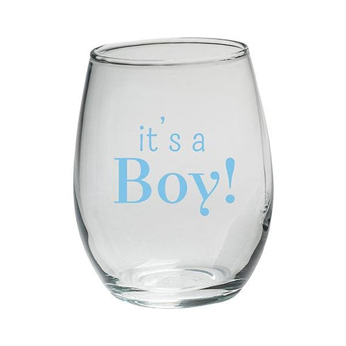 It's a Boy 9 oz. Stemless Wine Glass (Set of 12)