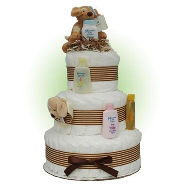 Tan Sparky 3-Tier Diaper Cake