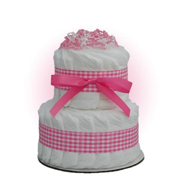 Mini Pink 2-Tier Diaper Cake