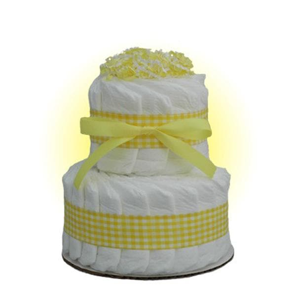 Mini Yellow 2-Tier Diaper Cake