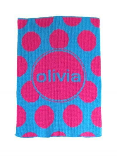 Personalized Acrylic Stroller Blanket with Modern Polka Dot (Many Colors Available)