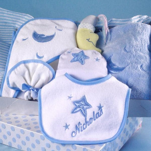 Personalized Moon & Stars Layette Baby Gift - Boy