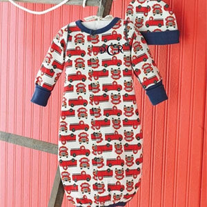 Red Trucks Convertible Gown and Hat Set (0-3 Months)