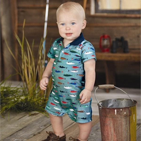 Fish Polo One Piece Romper (0-6 Months)