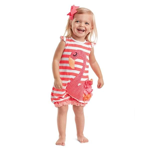 Flamingo Ruffled Romper (0-6 Months)