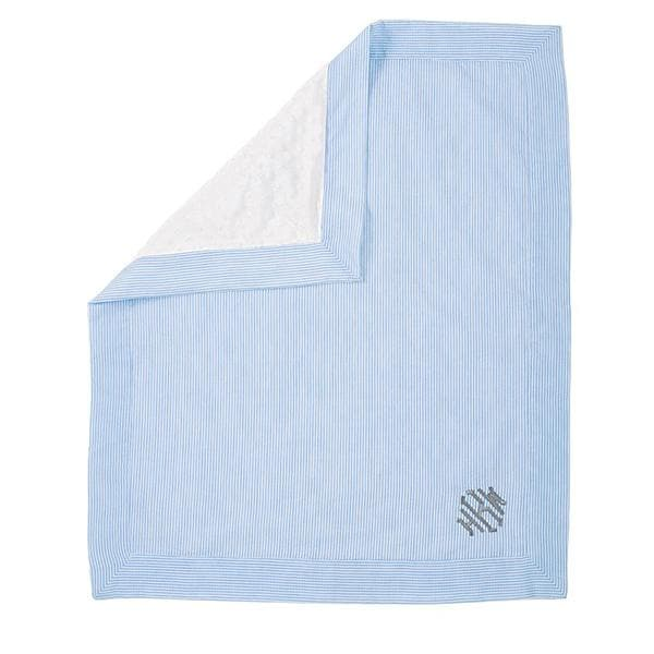 Blue Seersucker Baby Blanket (Personalization Available)