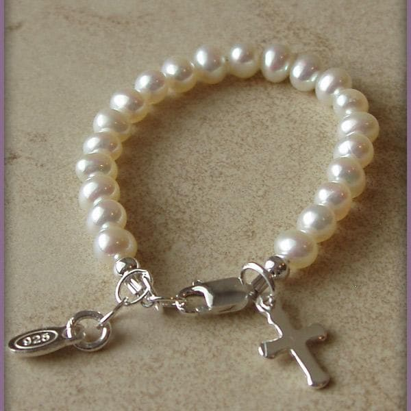 Baby Blessings Pearl Christening Bracelet w/Cross