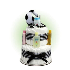 Mini Soccer 2-Tier Diaper Cake