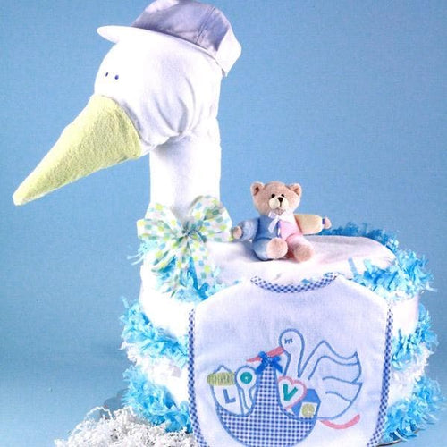 Stork Delivers Baby Diaper Cake (Blue)