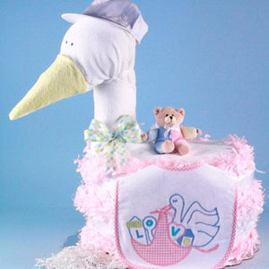 Stork Delivers Baby Diaper Cake (Pink)