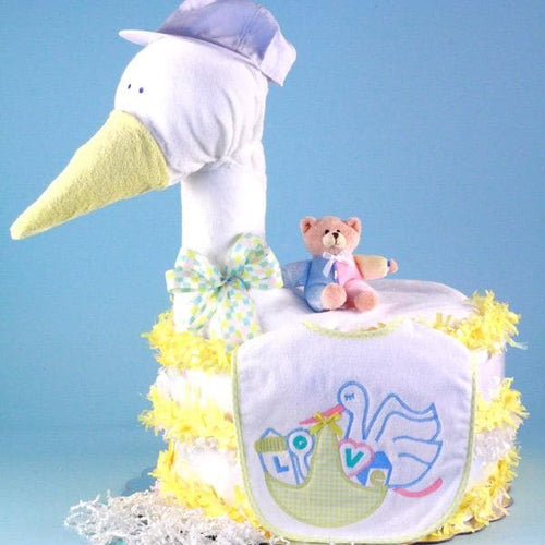 Stork Delivers Baby Diaper Cake (Yellow)