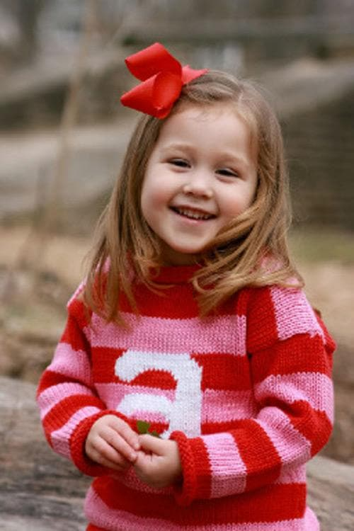 Personalized Knitted Stripe Letter Sweater (Available In Blue or Pink)