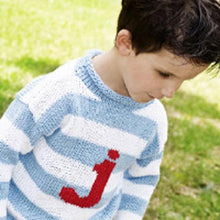 Load image into Gallery viewer, Personalized Knitted Stripe Letter Sweater (Available In Blue and Pink)