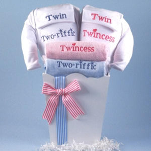 "Twin Boy & Girl Baby Gift-""Twincess"" & ""Two-riffic"""
