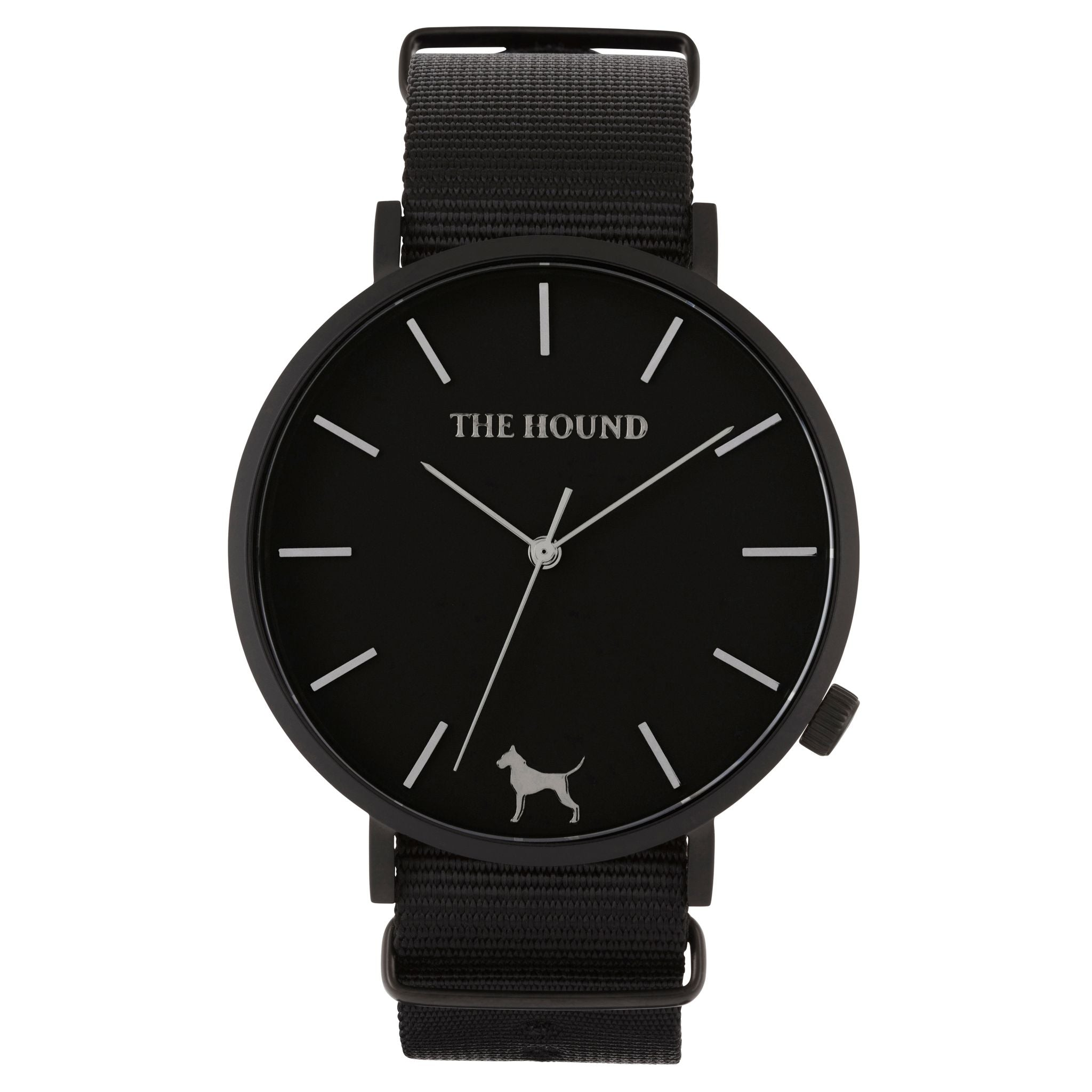 Matte black & black face watch with black nato