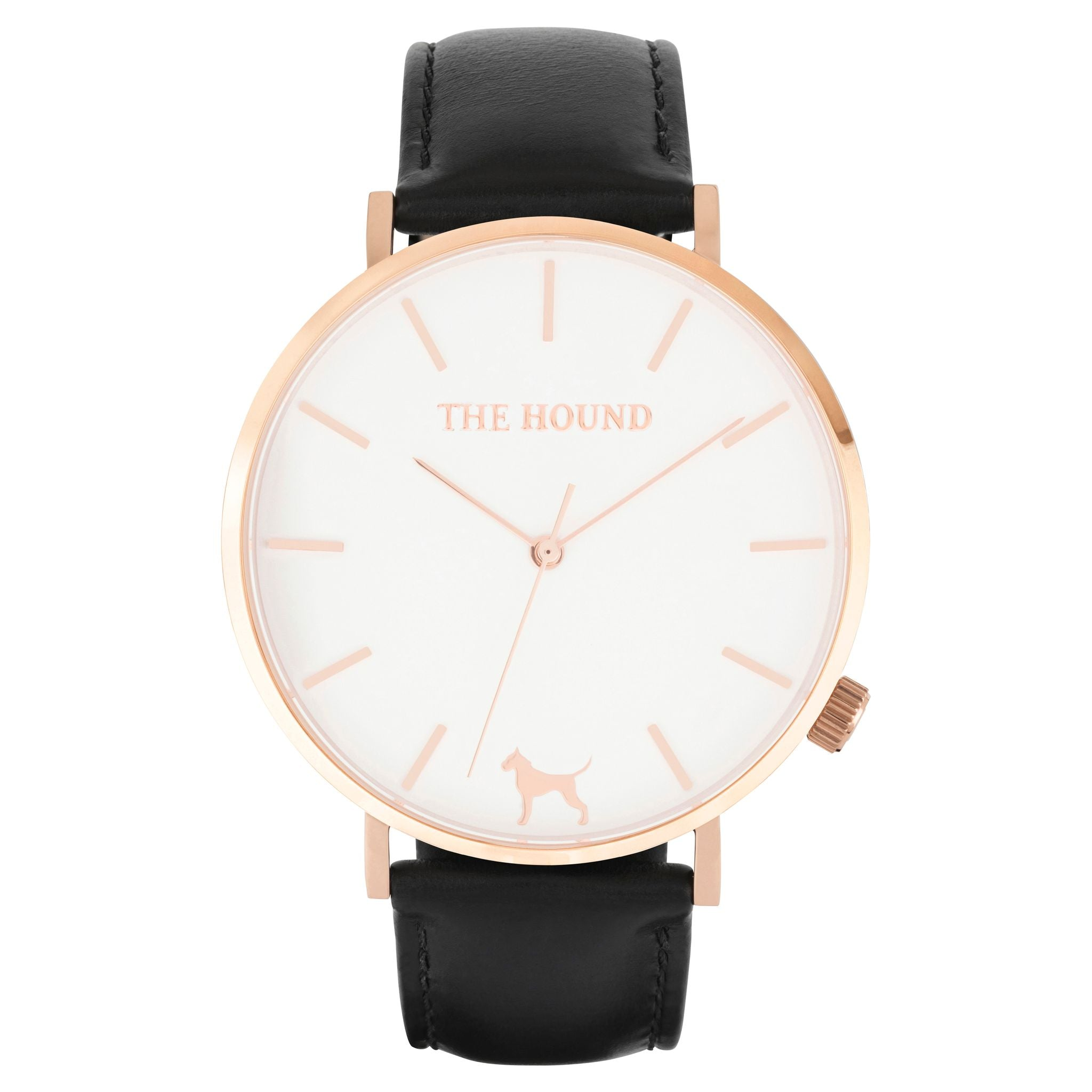 Rose gold & white face watch with black leather