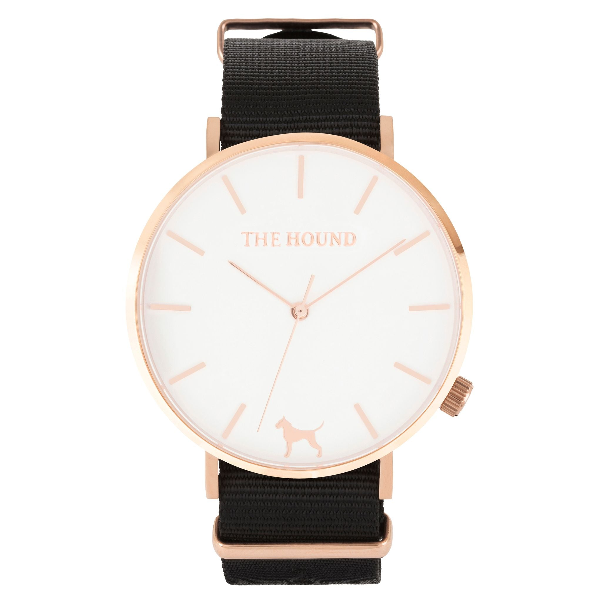 Rose gold & white face watch with black nato