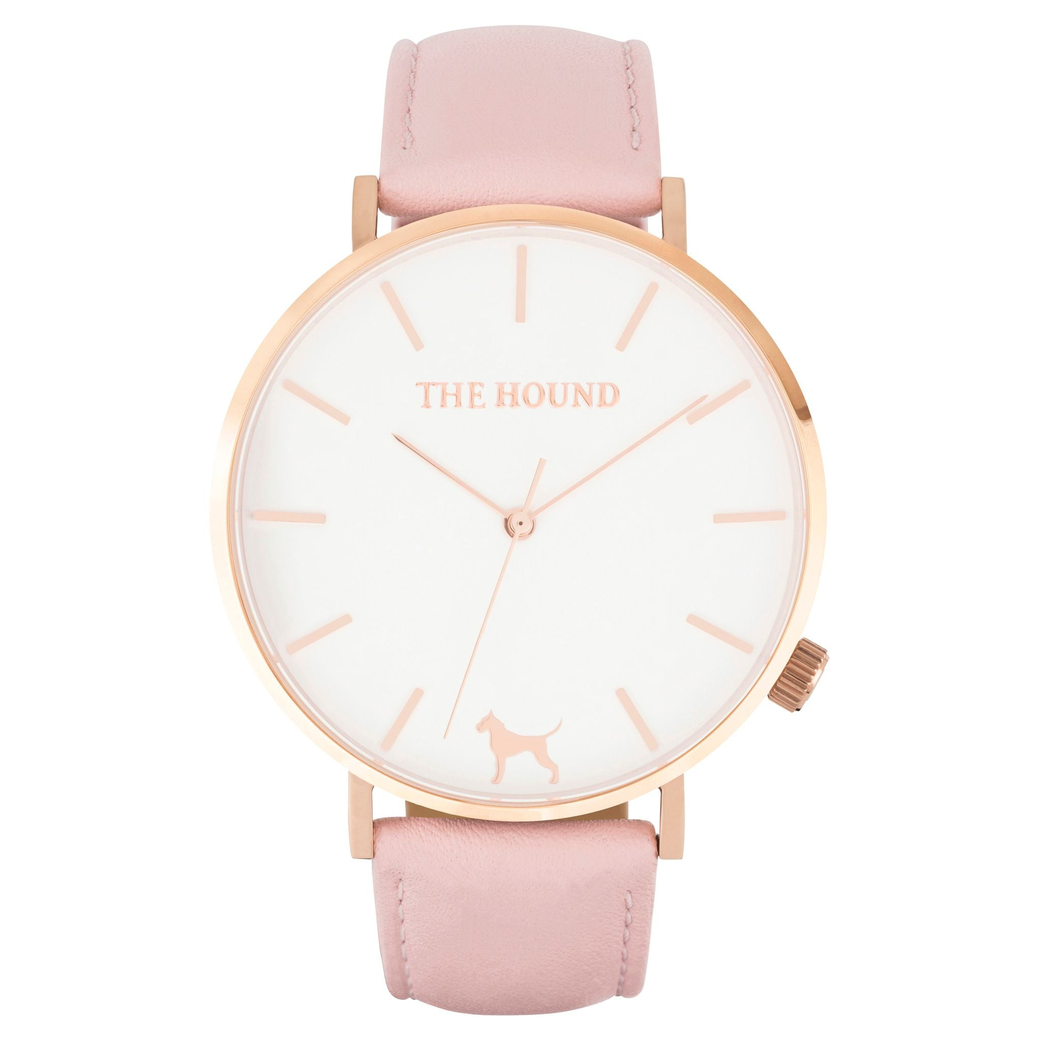 Rose gold & white face watch with blush pink leather