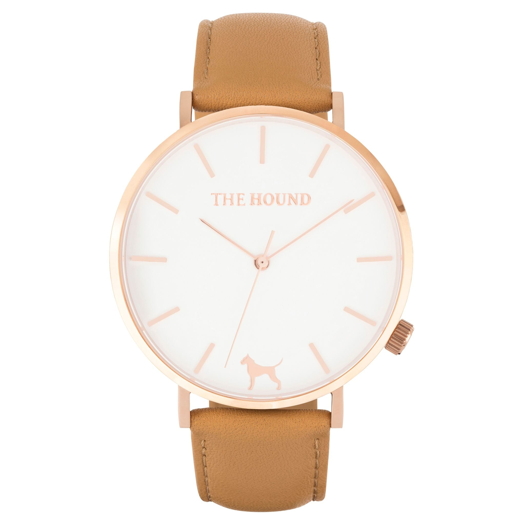 Rose gold & white face watch with camel leather