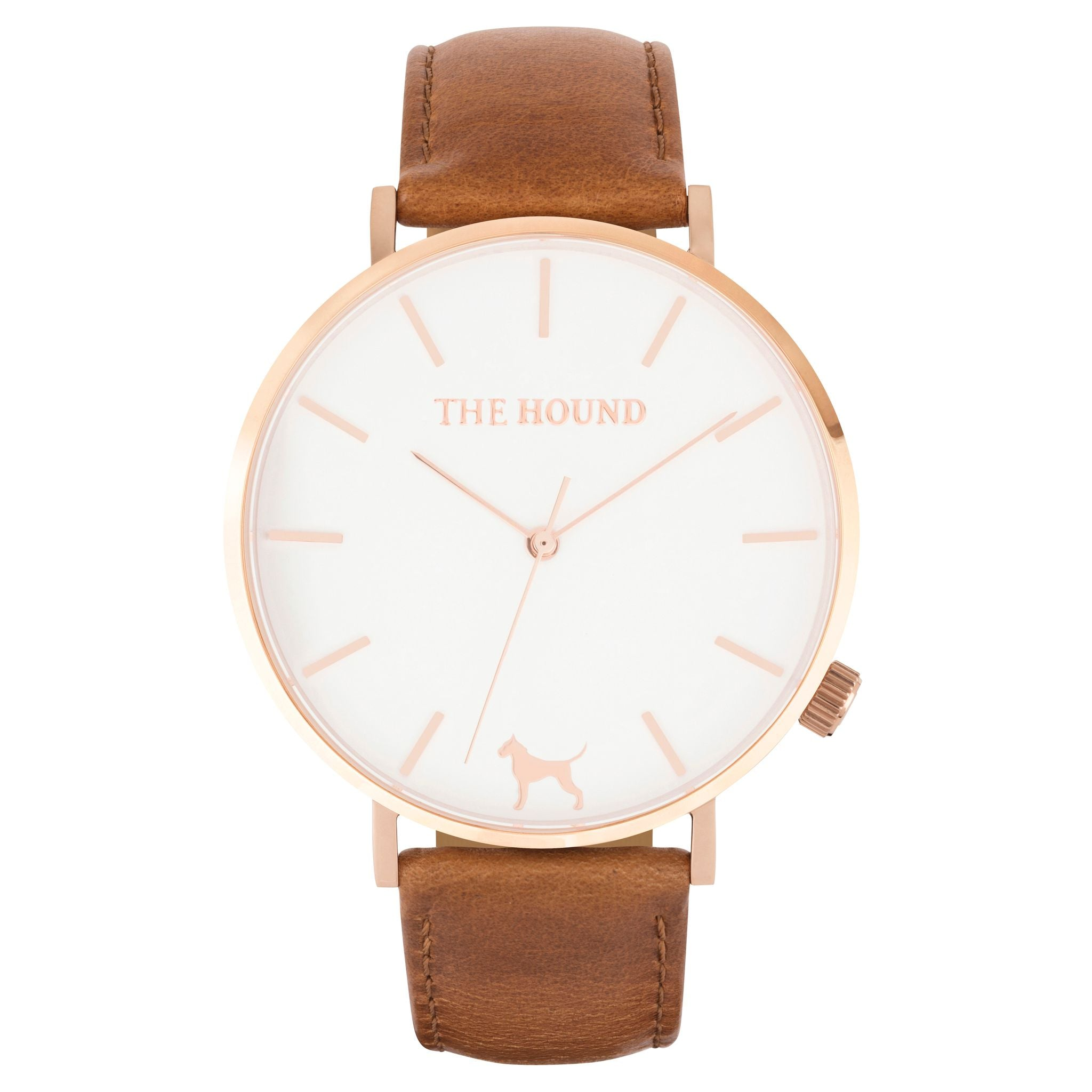 Rose gold & white face watch with tan leather